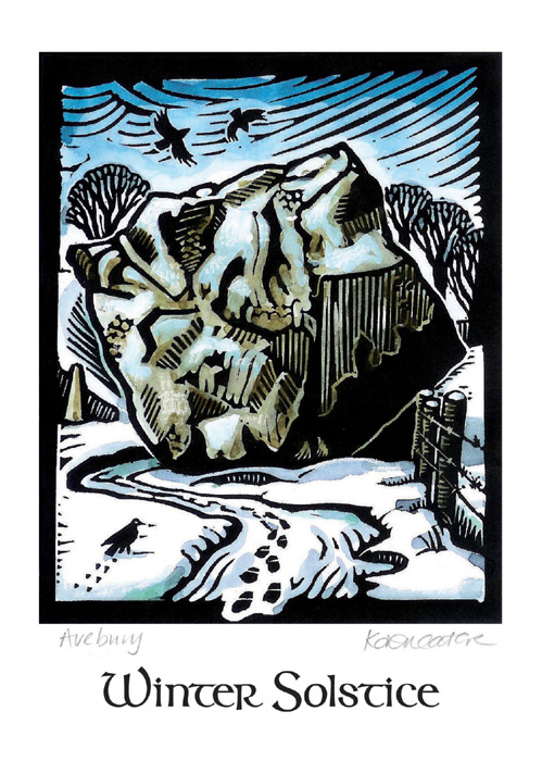 Winter Solstice at Avebury: Pack of 8 cards.