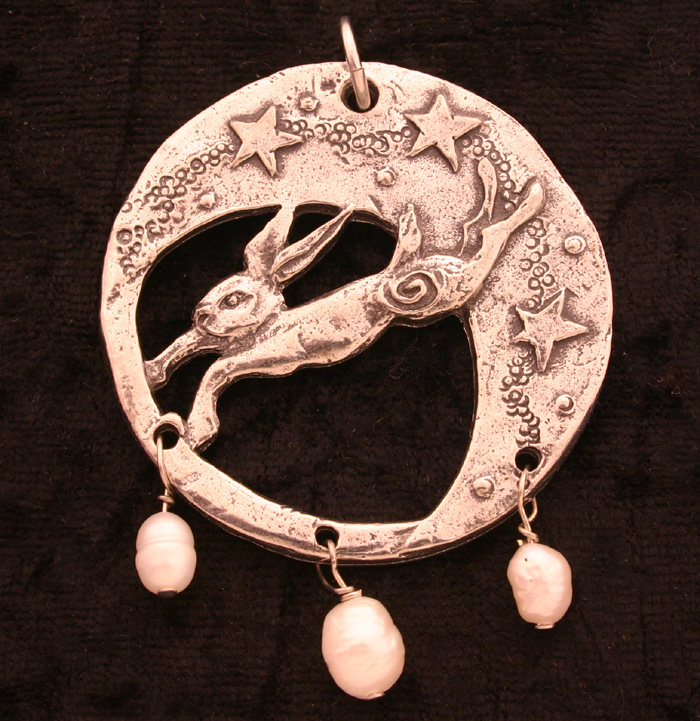 Moon Hare with Stars Pendant