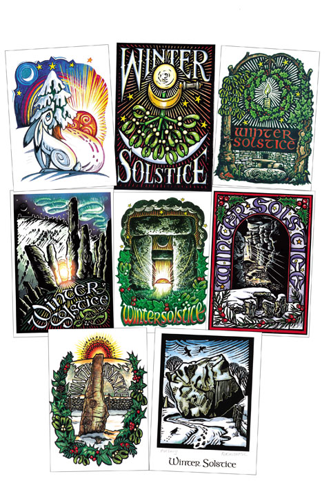 Winter Solstice Card Set - Pack of 8 assorted cards.